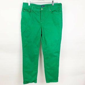 NYDJ Green Slim Fit Skinny Cropped Pants Jeans